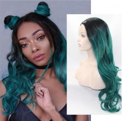 Forest Dark Green Ombre Color Long Wavy Synthetic Lace Front Wig