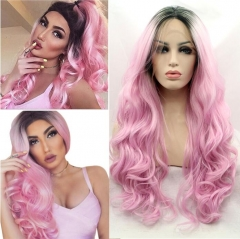 Sweet Pink Ombre Color Long Wavy Synthetic Lace Front Wig