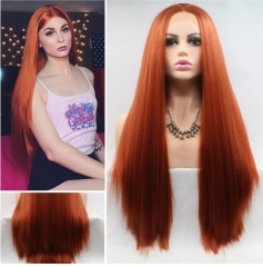 Trendy Orange Brown Long Yaki Straight Synthetic Lace Front Wig