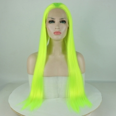 Green Glow Super Long Straight Synthetic Lace Front Wig
