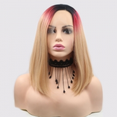 Three Colors Ombre Blonde Bob Side Part Synthetic Lace Front Wig