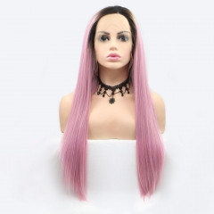 Fashion Ombre Pink Long Straight Lace Front Synthetic Wig