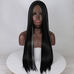 Gothic White Highlight Black Long Silky Straight Lace Front Synthetic Wig
