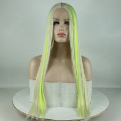 Green Fluorescent Highlight Blonde Long Straight Lace Front Synthetic Wig