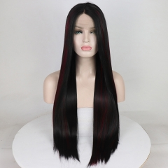 Wine Red Highlight Black Long Straight Synthetic Lace Front Wig