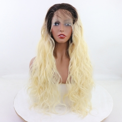 Gorgeous Natural Blonde Ombre Long Water Wavy Lace Front Synthetic Wig