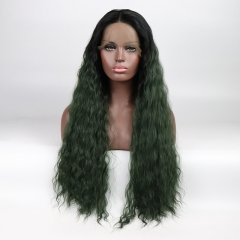 Vintage Dark Green Ombre Deep Wavy Synthetic Lace Front Wig