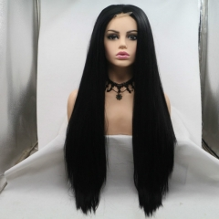 Jet Black Long Straight Yaki Synthetic U Part Lace Front Wig