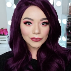 Gorgerous Grape Juice Purple Long Big Wave Synthetic Lace Front Wig