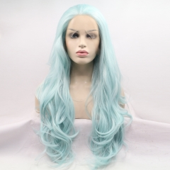 New Spring Sky Blue Long Wavy Lace Front Synthetic Wig