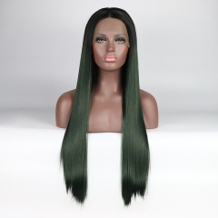 Elegant Dark Green Ombre Long Straight Synthetic Lace Front Wig