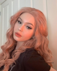 Rose Pink Long Water Wave Synthetic Lace Front Wig