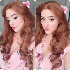 Golden Brown Long Big Wavy Synthetic Lace Front Wig