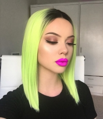 Lemon Yellow Green Ombre Bob Synthetic Lace Front Wig