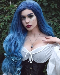 Gradient Ombre Blue Long Wavy Synthetic Lace Front Wig