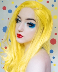 Hot Seller Vibrant Yellow Long Wavy Synthetic Lace front Wigs