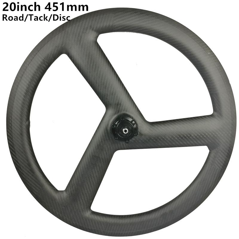 [CBRD451W3] 20inch 451 carbon 3 spoke wheels BMX bicycle carbon  road/track/fixed/disc tri spoke wheels