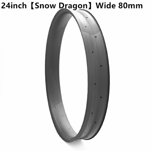 "[CB24FTSD80] [Snow Dragon] 80mm Width Carbon Fat Bike 24"" rim Double Wall Hookless Tubeless Compatible"