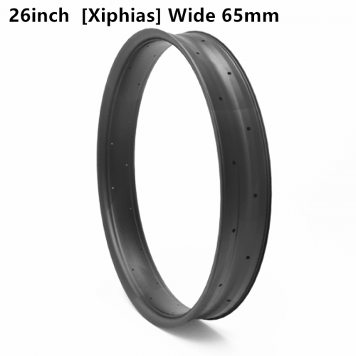 "[CB26FTXS65] [Xiphias] 65mm Width Carbon Fat Bike 26"" rim Double Wall Hookless Tubeless Compatible"