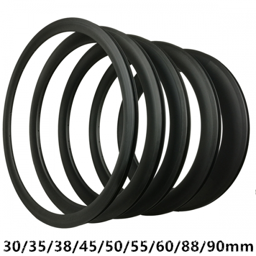 Basalt 700C*25 Tire Carbon Road Bike rims 35mm 38mm 45mm 50mm 55mm 60mm 90mm Depth 700C Carbon Rims Clincher Tubular Tubeless bike wheel