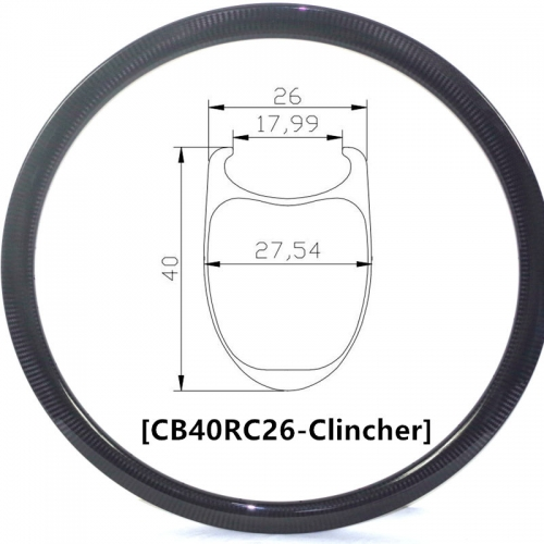 [CB26RC40] Carbonbeam Carbon Road Bike 40mm Depth 700C Carbon Rim Clincher bike rims
