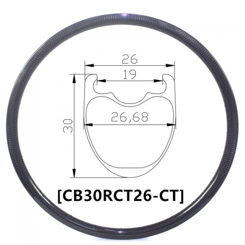 [CB26RCT30] Carbon Road Bike 30mm Depth 700C Carbon Rim Clincher and tubeless compatible road bike rims