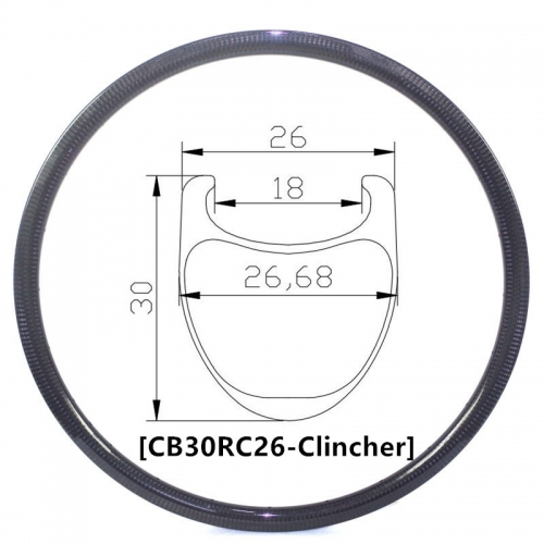 [CB30RC26] Carbonbeam Carbon Road Bike 30mm Depth 700C Carbon Rim Clincher bike rims