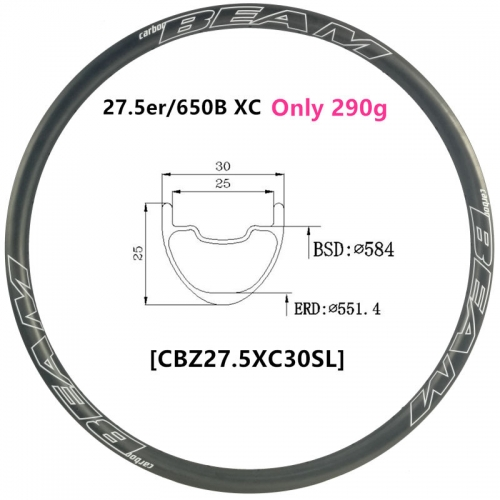[CBZ27.5XC30SL] Only 290g ULTRALIGHT 30mm Width 27.5er Carbon Fiber Mountain Bike Clincher Tubeless Compatible 27.5inch MTB rims