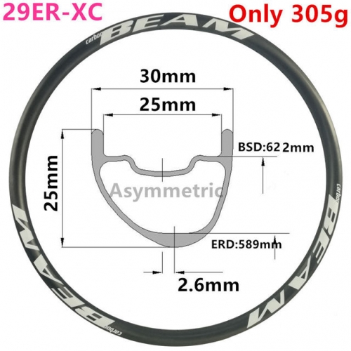 [CBZA29XC30SL] Asymmetric ULTRALIGHT Only 310g 30mm Width 29er Carbon Fiber Mountain Bike Clincher Tubeless Compatible MTB rims