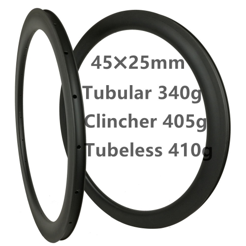 Free Shipping 340g Super light 45mm Depth Carbon Road Bike rims  700C Carbon Rims Clincher carbonbeam Tubular bicycle wheels
