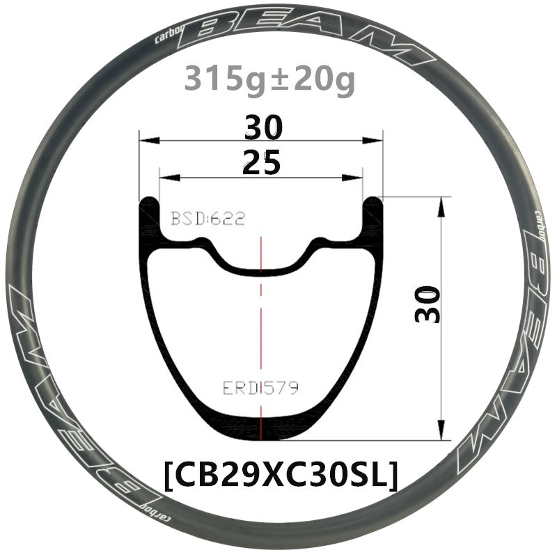 Hookless 26er AM//DH carbon mtb bike rim,33mm width,30mm deep tubeless compatible