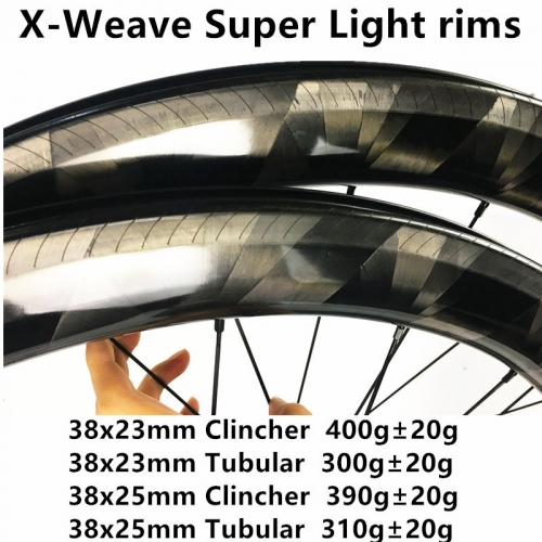 Free Shipping X-weave 300g Super light 38mm Depth Carbon Road Bike rims  700C Carbon Rims Clincher carbonbeam Tubular bicycle wheels