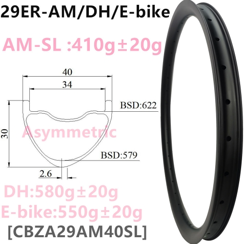 [CBZA29AM40SL] Premium Asymmetreic 410g AM 40mm Width 30mm depth 29er Carbon Fiber Mountain Bike Hookless Tubeless Compatible Downhill mtb rims