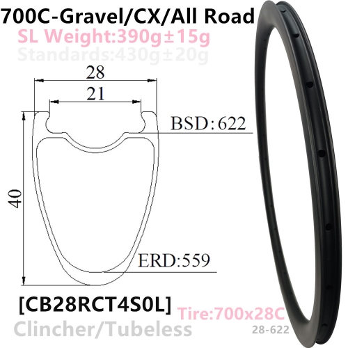 [CBG28RCT40SL] Carbonbeam Lifewarranty Only T800 390g NEW CX/Gravel Bike 28mm wide internal 21mm Depth 40mm 700C Carbon Clincher Tubeless Compatible c