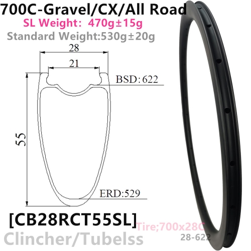 [CB28RCT55SL-700C] Carbonbeam Lifetime warranty Only 460g NEW CX/Gravel Bike 55mm Depth 700C Carbon Fiber Road Rim Clincher Tubeless Compatible carbon