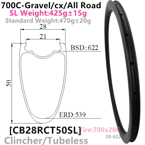 [CB28RCT50SL-700C] Carbonbeam Lifetime Warranty Only 425g NEW CX/Gravel Bike 50mm Depth 700C Carbon Fiber Road Rim Clincher Tubeless Compatible carbon