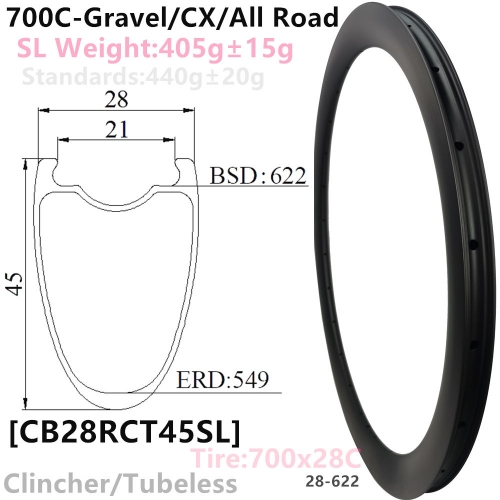 [CB28RCT45SL-700C] Carbonbeam Lifetime warranty Only 400g CX/Gravel Bike 45mm Depth 700C Carbon Fiber Road Rim Clincher Tubeless Compatible carbon rim