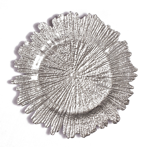 snowflake glass charger plate in FEIBIXUAN