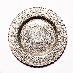 peacock glass charger plate in FEIBIXUAN