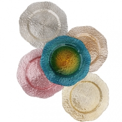 flower rim glass charger plate