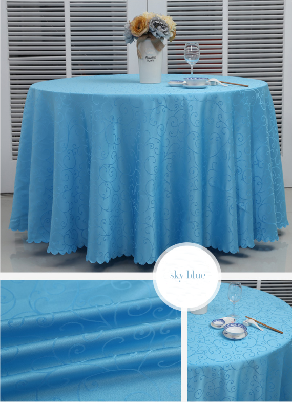 light blue table cloth