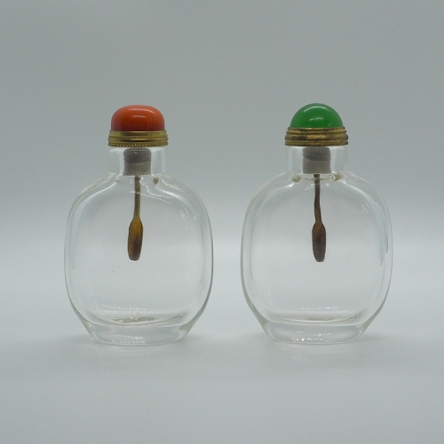 Chinese traditional snuff bottle, Thick & Clear Glass With Brass Spoon, 2 Options