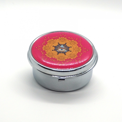 Mini portion snus box, Steel & Crystal Epoxy,Golden Flower and Mystic Eye