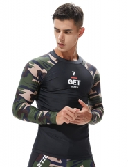 TAUWELL Men's Camouflage Long Sleeve Rash Guard Surfing Shirt