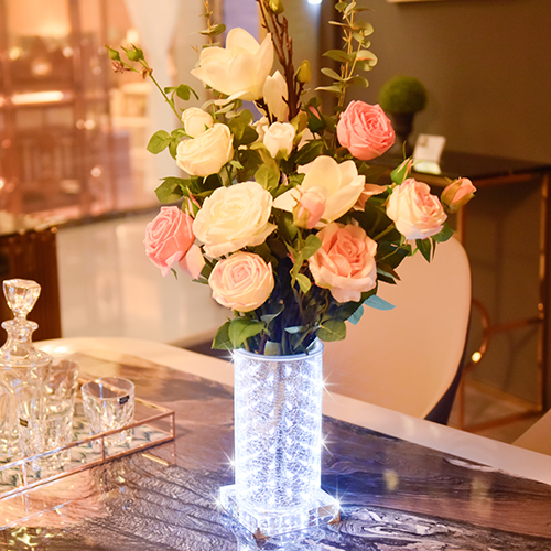 silvery and White luminous vase~Noble  (High Round)