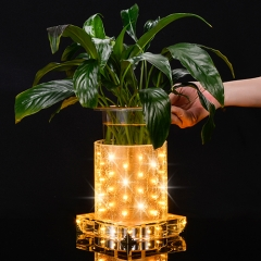 Golded LED luminous vase