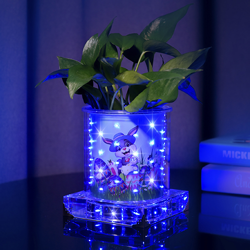 Blueish luminous vase for Ester(Short Round )