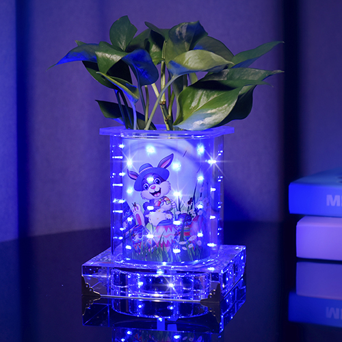 Blueish luminous vase for Ester(Short Square)