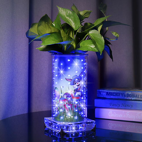 Blueish luminous vase for Ester(High Round )