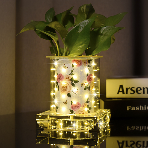 Warmish Rose luminous vase(Short Square)